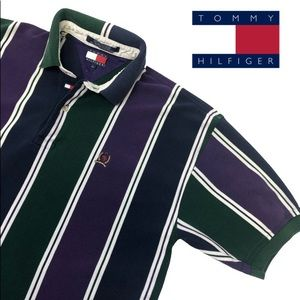 Rare VTG Tommy Hilfiger Striped Polo Shirt